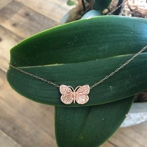 Lucky Brand rose gold plated butterfly necklace